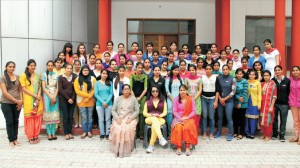Dedicated members of Hostel Council posing with Hon'ble College Principal Dr.(Mrs.) Charanjit Mahal and Hostel Wardens