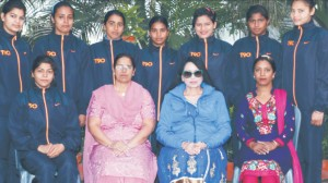 College Wresting Team that seized Overall Second position in PU Wresting Championship posing with Hon'ble College Principal and teachers incharge