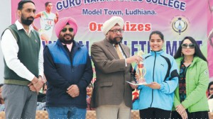 Promising a Great Tomorrow - The tireless efforts of a sports girl being commended by the doyens of the College at the Annual Sports Athletic Meet