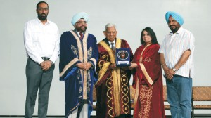 College President & Principal honouring the Chief Guest Sh. Gopal Krishan Chatrath, Ex. Advocate General, Ex. MLA, Fellow, Syndic & Dean, Faculty of Law, PU, Chd. at Convocation-2014 in the presence of esteemed Trustees, GNET - Prof. (Dr.) S.S. Mahal & S. Ishwarjot Singh Cheema